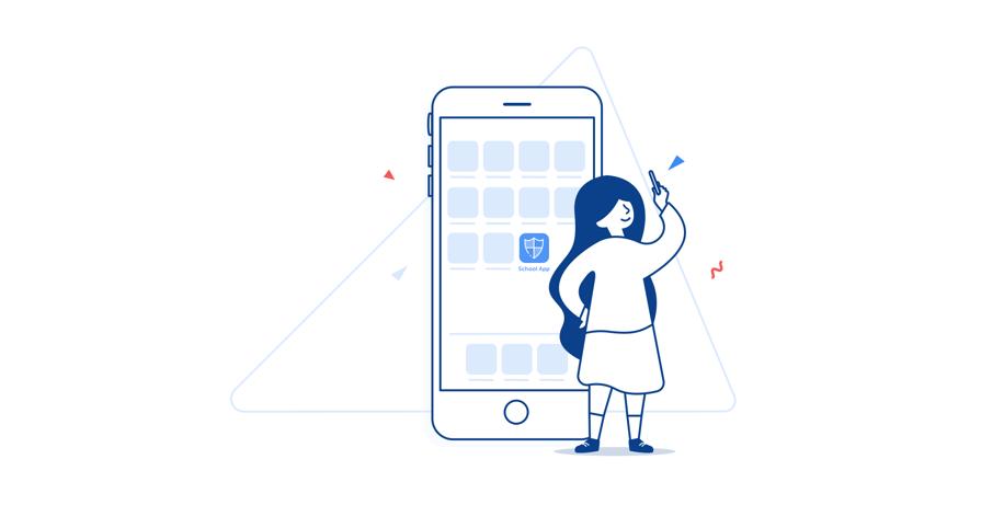 [Illustration_ smartphone highlighting a Digistorm school app]
